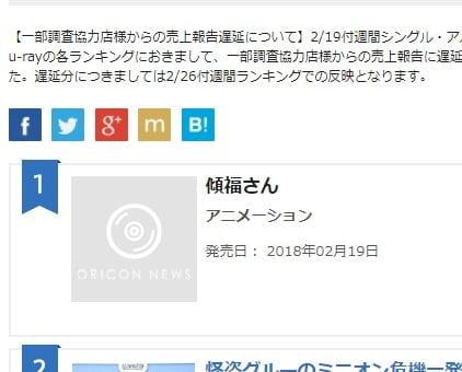 たつき監督「傾福さんオリコン1位!?a…ありがとうございます……!」