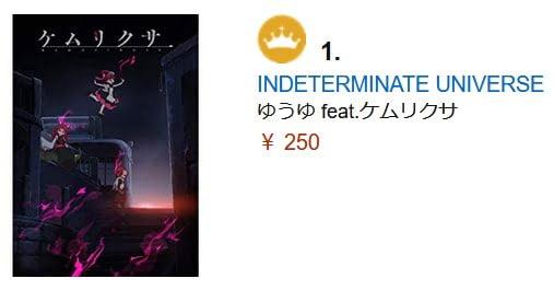 『ケムリクサ』EDテーマ「INDETERMINATE UNIVERSE」がAmazonデジタルミュージック売れ筋ランキングで1位を獲得