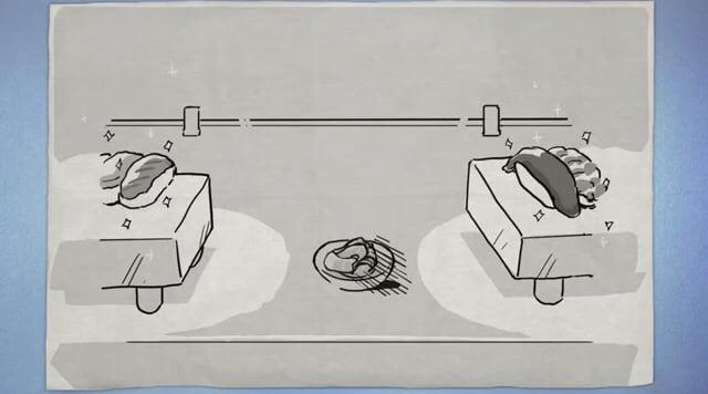 【へんたつ】イラストの背景は「そのとき座ってるテーブル」か